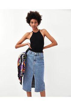 Bildergebnis für zara midi jeansrock