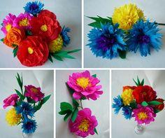 #Papierblumen ganz einfach und schnell basteln. #deko #papierblüten #papierdeko #blumendeko #bastelnmitpapier #krepppapier #diy #kreativ #basteln