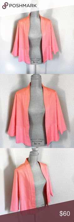 Eileen Fisher Silk Jacket Quilted Pink Petite PM Eileen Fisher Petite Quilted Cropped Jacket. 100% Silk shell, 100% Cotton backing. No closure. Meant to be worn open. Vibrant and flattering Coral pink color. One small water mark near bottom. See photos. Size PM. Eileen Fisher Jackets & Coats