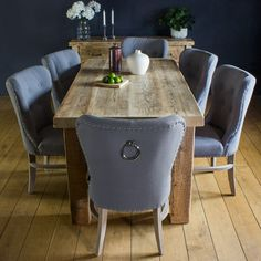 English Beam Extendable Reclaimed Wood Dining Table fabric chairs