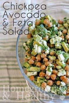Great salad idea      1 can chickpeas, rinsed and drained     2 avocados, diced     1/3 cup chopped parsley     2tbsp green onion, thinly sliced     1/3 cup feta cheese     Juice of 1 lime     Salt and pepper, to taste   Read more: http://homegrownandhealthy.com/chickpea-avocado-and-feta-salad/#ixzz3pxUSiqzy