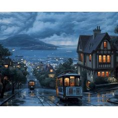 Paint By Number   Going Home on the Tram on a Rainy Night - 99206 / 40x50cm diy frame
