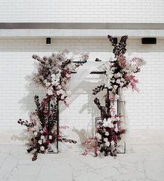 Romantic floral design for an outdoor wedding Ceremony Backdrop, Wedding Ceremony, Wedding Arches, Reception, Loft Wedding, Indoor Wedding, Floral Wedding, Wedding Flowers, Burgundy Wedding