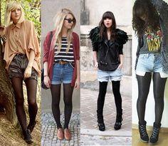 Não importa qual o seu estilo, short jeans com meia-calça vai bem com todos!