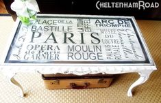 Craft idea featured on TCB- Stenciled Subway art Coffee table from Cheltenham Road