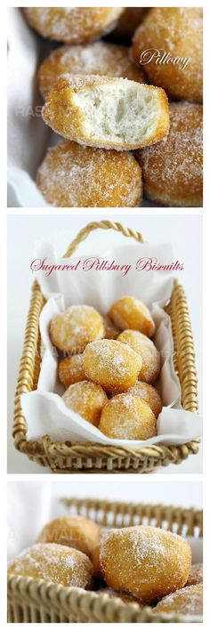 Cheater Donuts using Pillsbury biscuits. Fluffy, light, pillowy and oh-so-YUM. These sugared Pillsbury biscuits are the BEST! http://rasamalaysia.com