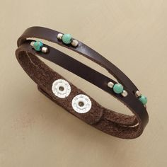 "JULIENNE LEATHER BRACELET -- Lustrous leather is sliced right down the middle, bisecting beaded turquoise spheres. Handcrafted Sundance exclusive with two-snap closure. 6-1/2"" to 7-1/2""L."