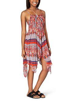image of Red Gypsy Handkerchief Hem Dress