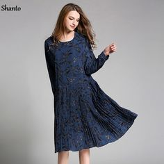 Shanto pleated plus size printed vintage dress long sleeve for women 2017 spring midi long oversized loose dresses female 1911LY