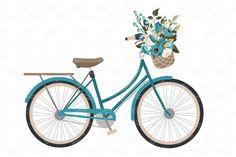Vintage Blue Vector Bicycle & Flower by Amanda Ilkov on Creative Market