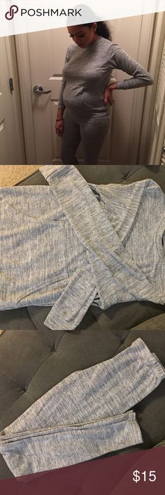 Grey 2 piece set Boohoo Grey 2 piece set. Leggings and long sleeve. Features a front pocket on the long sleeve. Size small, true to size. Boohoo Other