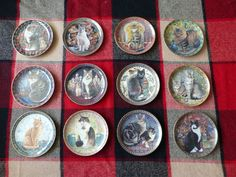 """12 x Danbury Mint """"Cats Around the World"""" Porcelain Plates Complete Collection 