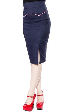 STEADY YOKED UP SKIRT NAVY