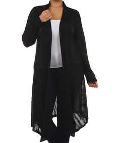 Look at this J-MODE USA Black Semi-Sheer Open Cardigan - Plus on #zulily today!