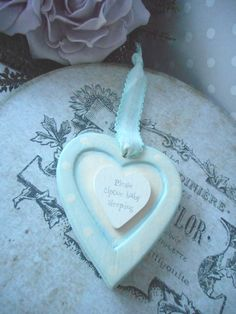 EAST OF INDIA BABY BOY  KEEPSAKE WOODEN PASTLE COLOURED WOOD  HANGING HEART £5.49