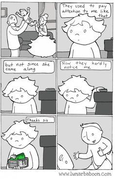 Benefits of having siblings Stupid Funny, Funny Cute, Really Funny, Hilarious, Funny Stuff, Funny Things, Random Stuff, Life Comics, Fun Comics
