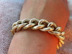 Large Chunky Gold Bracelet by NVboutique on Etsy, $12.00