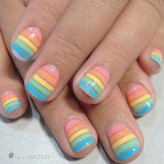 Nice nail designs so simple for Women 2015 Cute Nail Art, Beautiful Nail Art, Easy Nail Art, Hot Nails, Hair And Nails, Simple Nail Art Designs, Nail Designs, Rainbow Nails, Rainbow Pastel