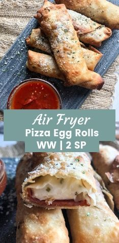 Air Fryer Pizza Egg Rolls - Recipe Diaries Air Fryer Pizza Egg Rolls - These homemade egg rolls are stuffed with turkey pepperoni and mozzarella string cheese. Perfect for dipping in some homemade or store bought marinara sauce! Air Fryer Recipes Potatoes, Air Fryer Oven Recipes, Egg Roll Recipes, Ww Recipes, Pizza Recipes, Healthy Recipes, Recipe Tips, Snacks Recipes, Chicken Recipes