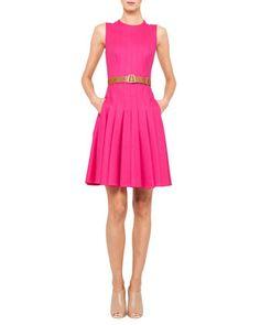 Sleeveless Belted Pleat Dress by Akris at Bergdorf Goodman.