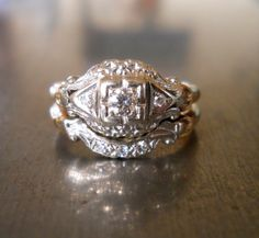 Beautiful antique! Art Deco Diamond Ring and Band. $865.00, via Etsy.