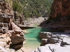 Paradise Valley's clear blue pools, gorge and waterfalls are a day-trip from Taghazout, Morocco. The local Berber name for the valley is Tagharat. Valley Pool, Destinations, Pool Waterfall, Morocco Travel, Paradise Valley, Gap Year, Moorish, Cool Pools, North Africa