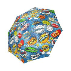 Comic Speech Bubbles Wow Pow Yes Splash Foldable Umbrella