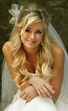 Bride's long #curls half up #hair ToniK #Wedding #Hairstyles ♥ ❷ ideas under…