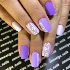 Accent nails give your Mani 77 simple options. Page 45 - Accent nails give your Mani 77 simple options. Classy Nail Designs, Simple Nail Art Designs, Easy Nail Art, Classy Nails, Trendy Nails, Ongles Gel Violet, Love Nails, My Nails, Purple Nails