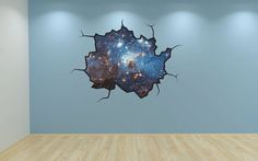 Stars Wall Decal Galaxy Sticker Mural Outer Space Cracked Wall Graphic