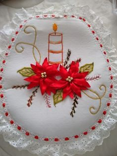 Ribbon Embroidery Tutorial, Silk Ribbon Embroidery, Christmas Sewing, Christmas Projects, Glass Engraving, Cross Stitch Bookmarks, Christmas Decorations, Holiday Decor, Ribbon Crafts