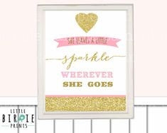 Gold and Pink Nursery Wall art or First Birthday Door Sign Glitter Chevron Printable - She leaves a little sparkle wherever she goes