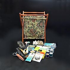 Knit Basket, Tapestry Fabric, Sewing Baskets, Sewing Accessories, Wood Turning, Vintage Sewing, Crochet Hooks, Handmade Items, My Etsy Shop