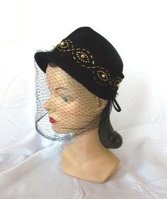 1940's Beaded and Studded Black Hat with Veil by MyVintageHatShop