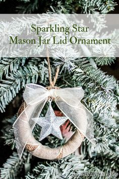 Sparkling Star Mason Jar Lid Ornament - Create your own Sparkling Star Mason Jar Lid Ornament with this little tutorial! In case you were won…