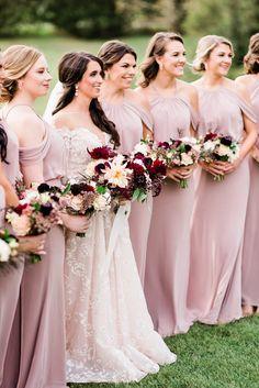 Wedding Gallery — Flourish Flower Farm Blush Bouquet, Burgundy Bridesmaid Dresses, Brides And Bridesmaids, Peonies Bouquet, Pink And Burgundy Wedding, Blush Pink Weddings, Blush Groomsmen, Wedding Ideas, Wedding Dressses