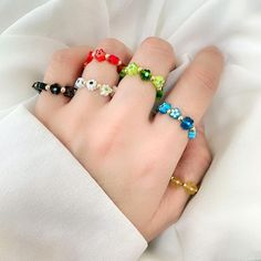 Color Glaze, Charm Jewelry, Beaded Bracelets, Rings, Flowers, Baby, Pearl Bracelets, Ring, Jewelry Rings
