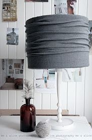 This could solve the mystery of what to do with the old lamp shade in the living room - use one of the sweaters that the moths have conveniently chewed.