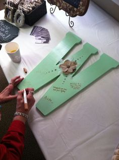Bridal shower guest book!   Letter from hobby lobby and paint to fit wedding colors!