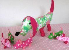 DIY PATTERN DOG ...Patroon of zelfmaakpakket knuffel hond met puppies - Hobby
