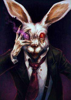 'Bunny, Bunny' by Lenka Simeckova. Dark Fantasy Art, Fantasy Kunst, Dark Art, Rabbit Drawing, Rabbit Art, Arte Horror, Horror Art, Creepy Art, Scary