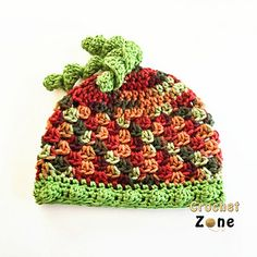 Fall Harvest Beanie Hat - free all sizes crochet pattern by MA Santos / Crochet Zone.