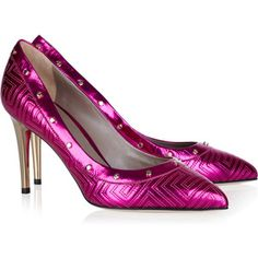 Versace Stitched metallic leather pumps