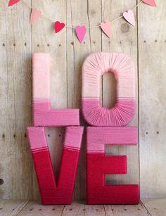 37  DIY Valentine's Day Decorations - Love Yarn Letters  - Valentine's Day Home Decorations Ideas