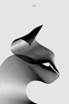 Animali minimali - by Andrea Minini http://www.behance.net/andreaminini  #effettomoiré #lessismore #cat
