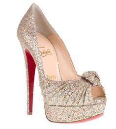 Gorgeous, sparkly peep toed Louboutins