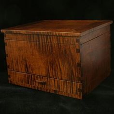 Handcrafted Jewelry Box In Tiger Maple by Michael McGuire