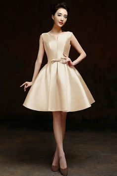 Buy Simple Satin Sleeveless A Line Short Cocktail Dress Bride Party Gown Custom Plus Size Formal Dresses Ladies Robes Cute Dresses For Party, Prom Dresses For Teens, Trendy Dresses, Plus Size Formal Dresses, A Line Shorts, Short Cocktail Dress, Cocktail Dresses, Vintage Style Dresses, Party Gowns