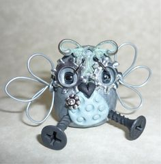 Polymer Clay Owl mini  Robot  https://www.etsy.com/shop/Freeheart1