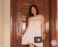 I ordered this sweet round neck cut-out lace spliced sundress along with this pair of mid-heel cross strap buckled sandals & this twist lock flap chain bag. Little White Dresses, My Style, Blouse, Lace, Tops, Women, Fashion, Moda, Fashion Styles